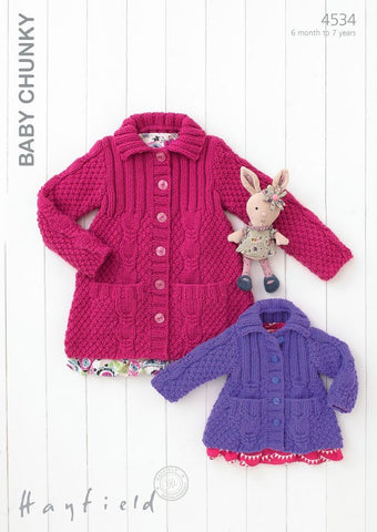 Babies & Girls Flat Collared Jacket in Hayfield Baby Chunky (4534)-Deramores