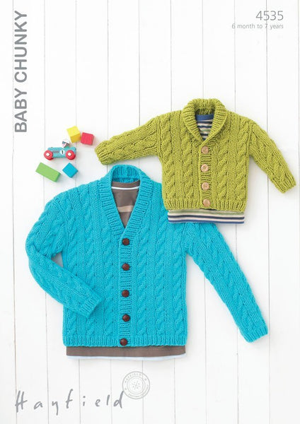 Babies & Boys Shawl Collared and V Neck Cardigans in Hayfield Baby Chunky (4535)-Deramores