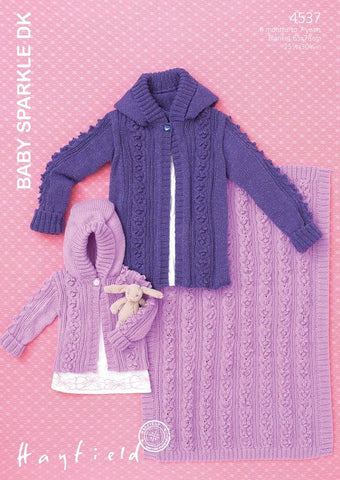 Babies & Girls Hooded Jacket and Blanket in Hayfield Baby Sparkle DK (4537)-Deramores