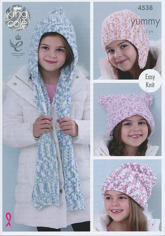 Hats and Scarf in King Cole Yummy (4538)-Deramores