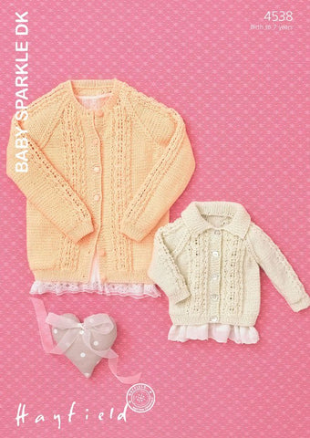 Babies & Girls Flat Collared and Round Neck Cardigans in Hayfield Baby Sparkle DK (4538)-Deramores