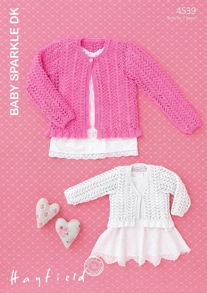 Babies & Girls Flat Round and V Neck Cardigans in Hayfield Baby Sparkle DK (4539)-Deramores