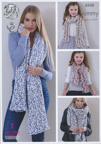 Ladies Shawls and Girls Scarves in King Cole Yummy (4540)-Deramores