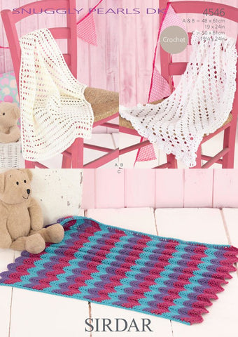 Closed Mesh, Fringed Edge and 3 Colour Zig Zag Blankets in Sirdar Snuggly Pearls DK (4546) - Digital Version-Deramores