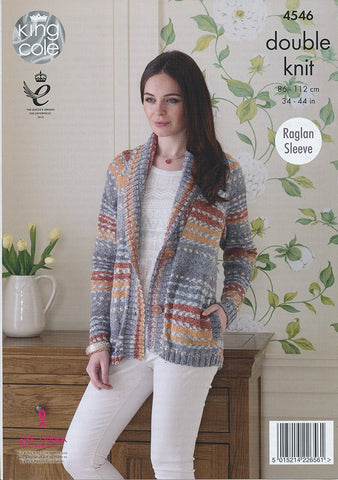 Jacket, Sweater and Scarf in King Cole Drifter (4546)-Deramores