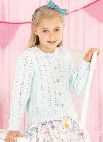 Girls Round Neck and Babies V Neck Cardigan in Sirdar Snuggly Pearls DK (4547) -Digital Version-Deramores
