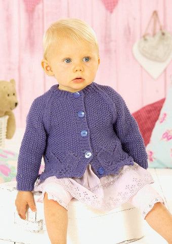 Girls V Neck and Round Neck Cardigans in Sirdar Snuggly Pearls DK (4550) - Digital Version-Deramores