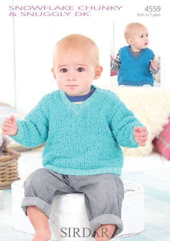 Boys V Neck Tank and Sweater in Sirdar Snowflake Chunky and Snuggly DK (4559)-Deramores