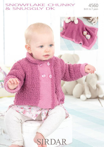 Babies and Girls Peter Pan Collared Jacket and Blanket in Sirdar Snowflake Chunky and Snuggly DK (4560)  - Digital Version-Deramores