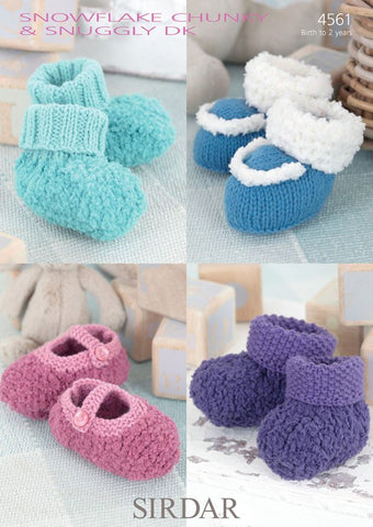 Babies Bootees in Sirdar Snowflake Chunky and Snuggly DK (4561) - Digital Version-Deramores