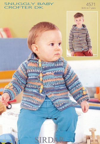 Babies and Boys Flat Collared and Hooded Jackets in Sirdar Snuggly Baby Crofter DK (4571)-Deramores