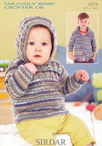 Babies and Boys Hooded Sweater and Jacket in Sirdar Snuggly Baby Crofter DK (4574)-Deramores