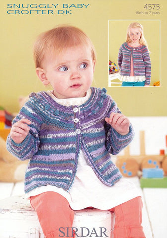Babies and Girls Round Neck A-line Cardigan in Snuggly Baby Crofter DK (4575)-Deramores