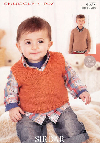 Boys V Neck Tank and Sweater in Sirdar Snuggly 4 Ply (4577)-Deramores