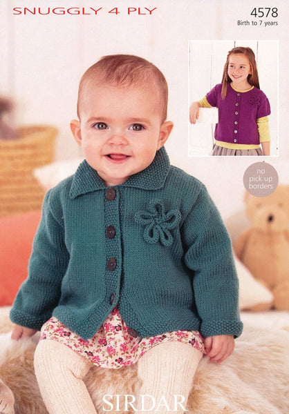 Girls Long Sleeved Flat Collared Cardigan and Short Sleeved Round Neck Cardigan in Sirdar Snuggly 4 Ply (4578)-Deramores