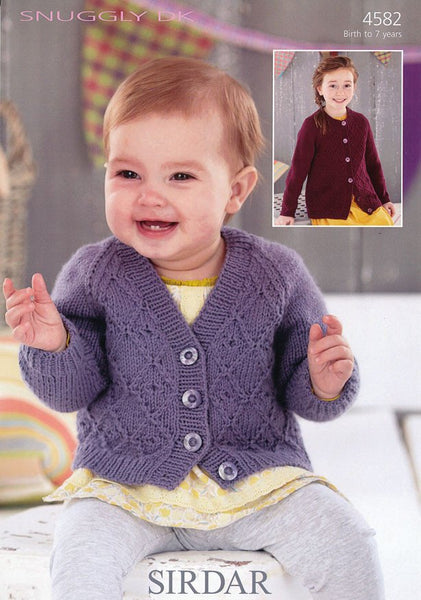 Girls V Neck and Round Neck Cardigan in Sirdar Snuggly DK (4582)-Deramores