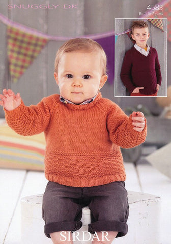 Boys Round Neck and V Neck Sweaters in Sirdar Snuggly DK (4583)-Deramores