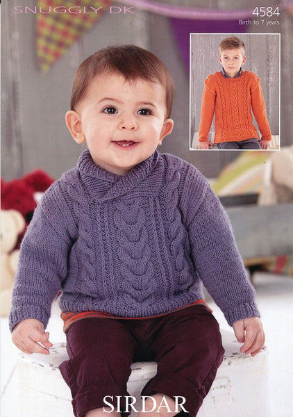 Boys Round Neck and Wrap Neck Sweaters in Sirdar Snuggly DK (4584)-Deramores