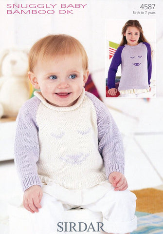 Girls Roll Neck and Round Neck Sweaters with Rabbit Face in Sirdar Snuggly Baby Bamboo DK (4587)-Deramores
