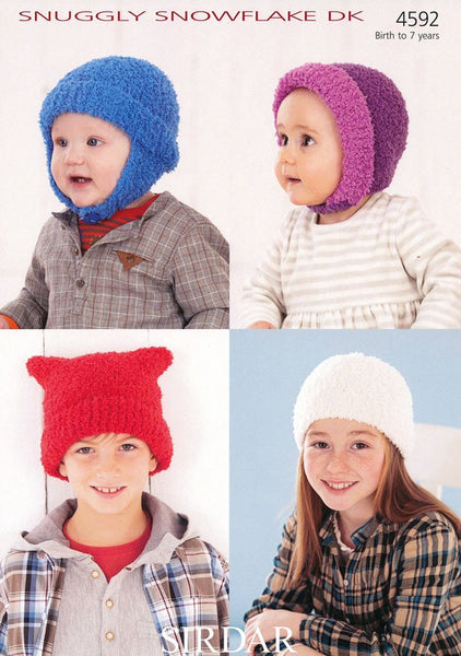 Helmet, Pull On Hat, Bonnet and T-Bag Hat in Sirdar Snuggly Snowflake DK (4592)-Deramores