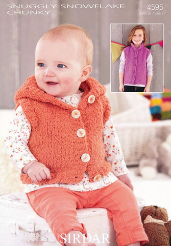 Girls Hooded and S.U.N Gilets in Sirdar Snuggly Snowflake Chunky (4595)-Deramores
