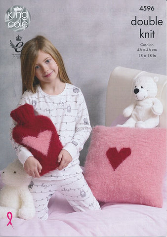 Cushion and Hot Water Bottle in King Cole Embrace DK (4596)-Deramores
