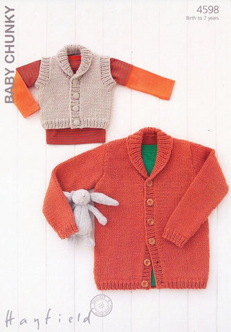 Boys Shawl Collared Wasicoat and Cardigan in Hayfield Baby Chunky (4598)-Deramores