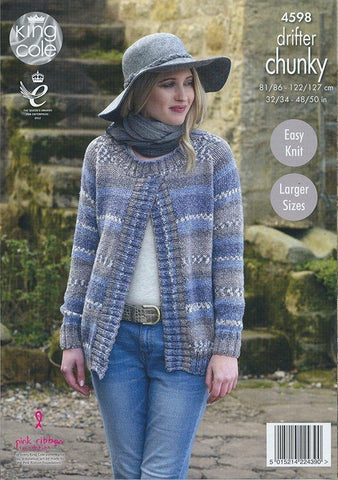 Ladies Sweater Jackets in King Cole Drifter Chunky (4598)- Digital Version