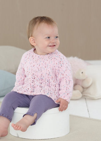 Babies Sweater and Cardigan in Sirdar Snuggly Spots (4604)-Deramores