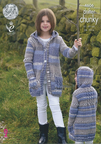 Girls Coats in King Cole Drifter Chunky (4606)-Deramores
