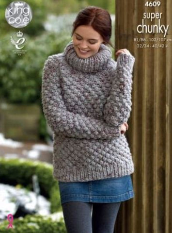 Sweater and Coatigan in King Cole Super Chunky Twist - Big Value (4609)