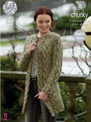 a6115048d Cardigan and Coatigan in King Cole Super Chunky Twist - Big Value (4610)-