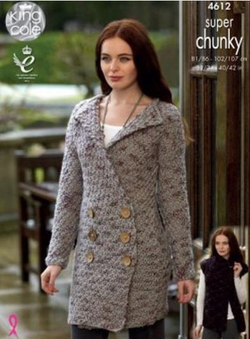 Coatigan, Cardigan and Gilet in King Cole Super Chunky Twist - Big Value (4612)-Deramores