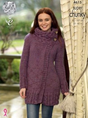 2f8481cf9 Cardigan and Waistcoat in King Cole Super Chunky Twist - Big Value (4615)-