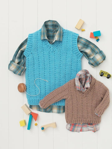 Babies and Boys Sweater and Tank in Hayfield Baby Chunky (4615)-Deramores