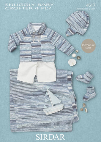 Blanket, Bootees, Coat and Helment in Sirdar Snuggly Baby Crofter 4 Ply (4617) - Digital Version-Deramores