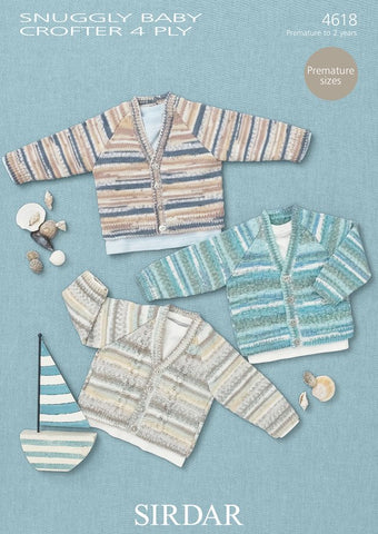 Cardigans in Sirdar Snuggly Baby Crofter 4 Ply (4618) - Digital Version-Deramores