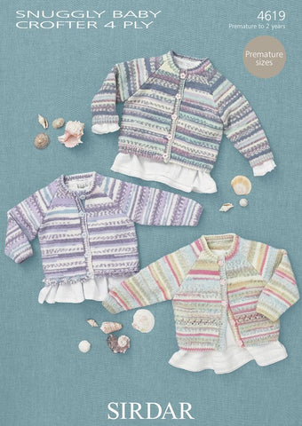 Cardigans in Sirdar Snuggly Baby Crofter 4 Ply (4619) - Digital Version-Deramores