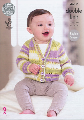 Cardigans in King Cole Comfort and Comfort Prints DK (4619)-Deramores