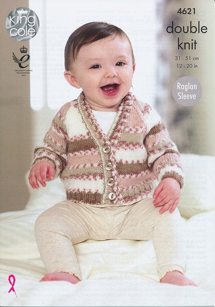 Cardigans in King Cole Comfort and Comfort Prints DK (4621)-Deramores