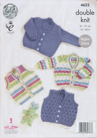 Cardigans and Waistcoat in King Cole Comfort and Comfort Prints DK (4622)-Deramores
