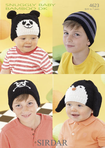 Panda,  Penguin, Crossbones and Striped Hats in Sirdar Snuggly Baby Bamboo DK (4623)