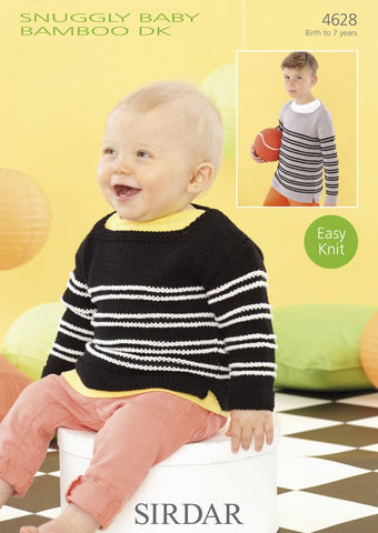 Babies and Boys Sweaters in Sirdar Snuggly Baby Bamboo DK (4628)-Deramores