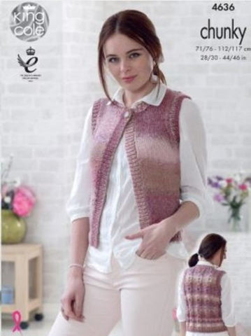Waistcoats in King Cole Cotswold Chunky (4636)
