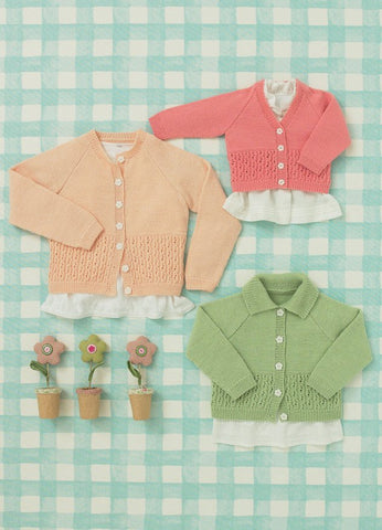 Babies and Girls Cardigans in Sirdar Snuggly 4 Ply (4638) - Digital Version-Deramores