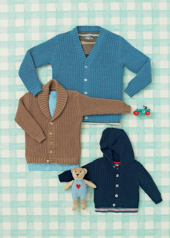 Babies and Boys Cardigans in Sirdar Snuggly 4 Ply (4640) - Digital Version-Deramores