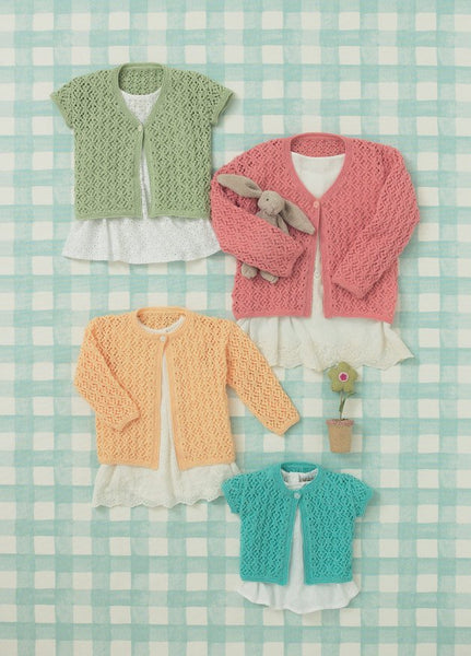 Babies and Girls Cardigans in Sirdar Snuggly 4 Ply (4643) - Digital Version-Deramores