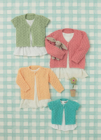 Babies and Girls Cardigans in Sirdar Snuggly 4 Ply (4643)-Deramores