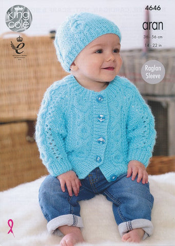 Sweater, Cardigan, Hat, Scarf and Bootees in King Cole Comfort Aran (4646)