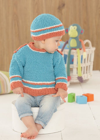 Baby Sweater, Hat, Bootees and Blanket in Sirdar Snuggly Snowflake Chunky (4649)-Deramores